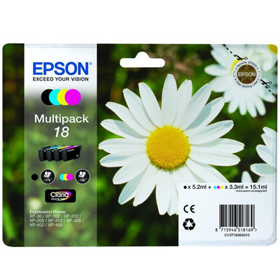 Inkjet Epson Home XP102 T18 multipack 4 colores negro 5,2ml y color 3,3ml 1